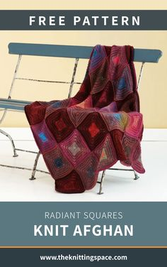 This Radiant Squares Knit Afghan is a stunning home decor perfect for all seasons. Its timeless beauty is definitely display-worthy, perfect for a rustic theme. In fact, the pattern is ideal for experienced knitters. | Discover over 5,500 free knitting patterns at theknittingspace.com All Free Knitting, Winter Knitting Patterns, Dishcloth Knitting Patterns, Knitted Afghans, Knitted Blankets, Summer Knitting Projects, Knit Pillow, Rustic Theme, Timeless Beauty
