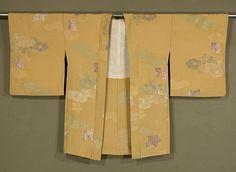 Japanese Haori  Rinzu silk evening jacket with  silk and metallic brocading