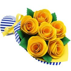Mini Bouquet (Roses),Decorative,Paper Craft,Father's Day,Paper Craft,Father,present,Bouquet,rose,yellow,flower