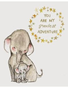 Nursery Art - My Greatest Adventure ELEPHANT - Art Print by trafalgarssquare o. Elephant Love, Elephant Art, Baby Elephant Tattoo, Elephant Rings, Baby Elephant Drawing, Elephant Doodle, Giraffe Art, Elephant Family, Baby Elefant