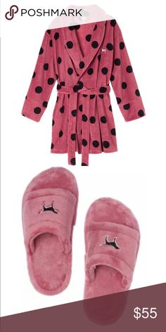 Pink robe and slippers New cozy robe(xs/S) and slippers (m)-7.5-8.5 PINK Victoria's Secret Intimates & Sleepwear Robes