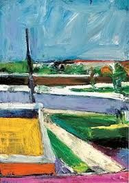 Richard Diebenkorn-Untitled Landscape Using a great deal of triangles and elongated rectangles, a detailed and receding environment is created while pushing and pulling space in an effective manner. Richard Diebenkorn, Willem De Kooning, Jackson Pollock, Traditional Landscape, Contemporary Landscape, Abstract Landscape, Contemporary Paintings, Franz Kline, Robert Rauschenberg