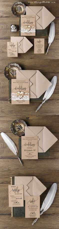 Rustic Wedding Invitation with Real Lace & Birch Bark Heart  ||  @4lovepolkdadots