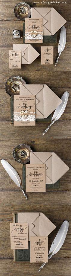 Rustic Wedding Invitation with Real Lace & Birch Bark Heart  ||  @4lovepolkdadots