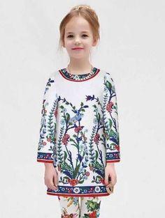 High End 2015 Luxury Brand Designer Wl Monsoon Winter Girls Dress Dobby Floral White Beading Dress Children Clothing Baby Girl