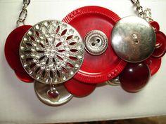 BRAVE HEART VINTAGE Button Necklace silver by LilyBankButtonry, $40.00