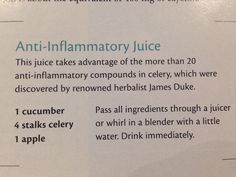 Anti inflammatory juice