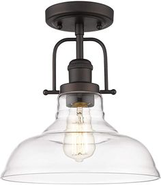FEMILA Semi Flush Mount Ceiling Light, Farmhouse Close to Ceilight Lighting Fixture, Oil Rubbed Bronze Finish, Clear Glass Pendant Lamp Shade, 4FY09-F ORB - - Amazon.com Pendant Lamp Shade, Lamp, Glass Pendant Lamp, Clear Glass, Pendant Light, Oil Rubbed Bronze, Lamp Shade, Ceiling Lights, Light Fixtures