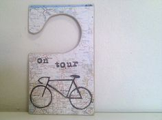 Bicycle Tour Door Tag  On Tour Map Printed Sign by Ayliss on Etsy, $12.00