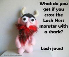 cute & clean Loch Ness monters joke for children featuring an adorable Streaking Viking Boy Doll :)
