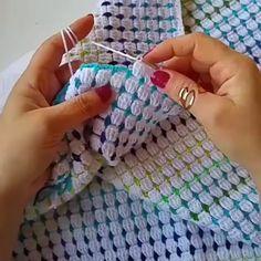"""1,248 Beğenme, 26 Yorum - Instagram'da Gülay Pervelı DEĞİRMENCİ (@gulay_degirmenci): """"Modelin açıklamasını """"Renkli battaniye"""" adıyla you tube kanalımda bulabilirsiniz. Huzurlu cumalar 🙏"""" Crochet For Beginners Blanket, Crochet Patterns For Beginners, Crochet Stitches Patterns, Crochet Designs, Crochet Baby, Knit Crochet, Crochets Braids, Baby Girl Dress Patterns, Crochet Doilies"""