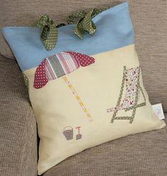 ON THE BEACH Cushions  Deckchair and Umbrella by peppermintfizz, £51.18