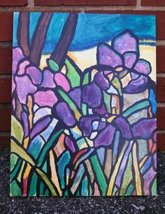 High School Art: Painting. Inspired by Tiffany stained glass. Art Teacher Jennifer Lipsey Edwards