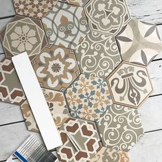 So my client stopped by this evening and we had a little grout picking session on my porch. This is going to be stunning in their new bathroom. #tiles #beautifultiles #bathroomreno #grout #stunning    #Regram via @linnealions_design