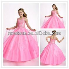 FG119 Stunning Beaded Shoulder Straps Fitted Bodice Corset Back Ball Gown Skirt Girls Long Puffy Dresses For Kids Pink $89~$149
