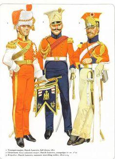 Napoleon's Guard Cavalry Dutch Lancers 1_Trumpet-major full dress 1811 2_Lieutnant Sous-adjudant-major campaign dress 1812 3_Brigadier, summer marching order 1812-14