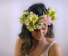 These colours are so lovely they would go with everything! I love this crown! https://www.etsy.com/ca/listing/264170358/wedding-flower-crown-pink-and-green