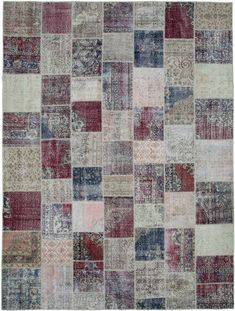 Our vintage patchwork rugs sew together cultures, traditions and history, creating beautifully unique rugs. We carefully select Turkish hand-knotted rugs woven in the 60's and 70's to create our collection of patchwork rugs. We trim the piles for a vintage look. #kilimstudio #kilimcom #patchwork #patchworkrug #carpet #arearug #rug #rugs #vintage #vintagerug #distressedrug #handwoven #handknotted #handmade #eclectic #bohemian #bohodecor #bohochic #quilt Hand Knotted Rugs, Woven Rug, Patchwork Rugs, Unique Rugs, Contemporary Area Rugs, Vintage Rugs, Floor Rugs, Handmade Rugs, Colorful Rugs