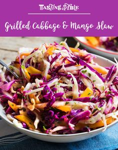 Looking for a bright and spicy side that can stand up to whatever you're grilling? Grill cabbage and mango, and then toss them in a jalapeño vinaigrette for a fresh take on slaw. Mango Recipes, Slaw Recipes, Grilling Recipes, Brunch Recipes, Cooking Recipes, Grilling Tips, Summer Recipes, Vegetarian Cabbage, Vegetarian Recipes
