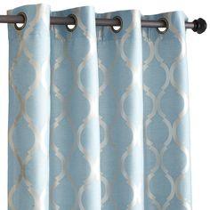 "Moorish Tile Curtain - Smoke Blue 84"""