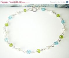ON SALE Layering bracelet  apatite peridot and by oneoffcreations