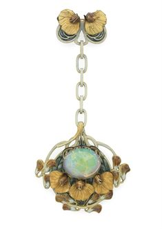 "AN ART NOUVEAU ENAMEL, OPAL AND GOLD ""SWEET PEA"" PENDANT BROOCH, BY RENE LALIQUE Suspending a detachable openwork plaque, centering upon an oval cabochon crystal opal within a peach, brown, blue and pale green enamel sweet pea cluster surround, with a bluish green plique-à-jour enamel background, from a pale green enamel and gold link chain, to a smaller sweet pea cluster surmount, mounted in gold, circa 1900."