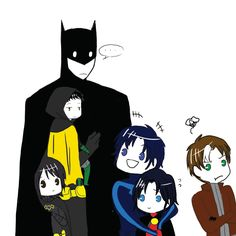 Batfamily - Bruce, Dick, Jason, Tim, Cassandra, and Damian