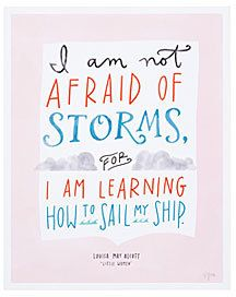 This sailing quote will bring a unique touch to an an office, nursery, or living area! Little Women Sailing Print quote by little women blue pink and orange #quote #typography  #afflink