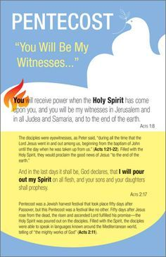 Pentecost Bulletin Insert At Pentecost the Holy Spirit was poured out on Jesus