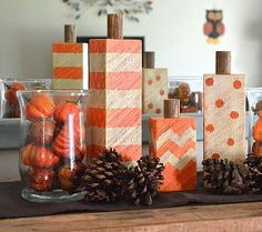 wood block pumpkins, woodworking projects