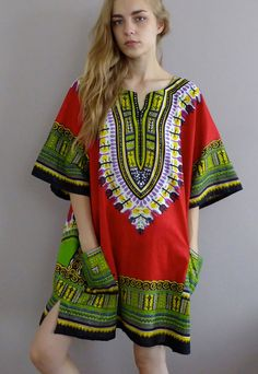 Oversized African Dashiki Shirt Dress in Red by WWYF on Etsy