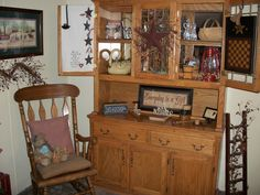 Primitive Decorating On And Around My Dining Room Hutch