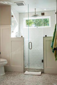 bathrooms - cafe au lait, cafe au lait bathroom walls, frameless glass front shower, seamless glass front shower, shower pony wall, pony wal...