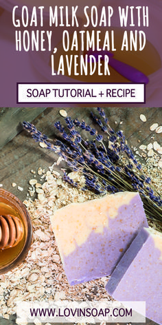 This soap design uses fresh goat milk, oatmeal and honey. Click to get the recipe and make this soap yourself!