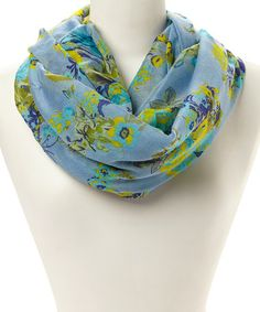 Another great find on #zulily! Light Blue Floral Infinity Scarf by Polka Dotsy #zulilyfinds