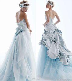 Noiva com Classe: Vestido de noiva azul em vários tons