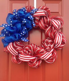 4th of July decomesh wreath, red, white & blue, payriotic, Memorial Day, flag