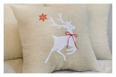 Items similar to Reindeer , Embroidered Christmas pillow, Christmas pillow, Christmas gift pillow , reindeer pillow on Etsy Christmas Pillow, Christmas Stockings, Christmas Gifts, Reindeer, Throw Pillows, Holiday Decor, Unique Jewelry, Handmade Gifts, Vintage