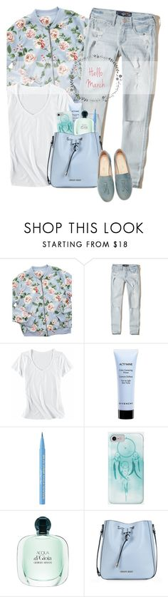 """""""OOTD - Hello March"""" by by-jwp ❤ liked on Polyvore featuring Hollister Co., Horny Toad, Givenchy, Too Faced Cosmetics and Armani Jeans"""