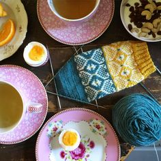 From on IG: Breakfast and sock knitting.