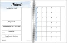 Monthly view in the free printable Sannipanni planner