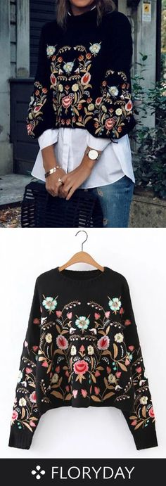 Round Neckline Floral Loose Sweaters This gorgeous sweater is perfect for the Triangle Figure because [& The post Round Neckline Floral Loose Sweaters appeared first on How To Be Trendy. Mode Outfits, Casual Outfits, Fashion Outfits, Womens Fashion, Girly Outfits, Fashion Hair, 80s Fashion, Fall Outfits, Style Fashion
