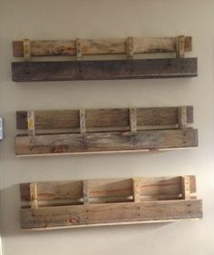 Pallet shelves - i want to make a set of three - top with wine bottles & a glass rack, middle with cookbooks & coffee cup hooks, bottom - upside down with a towel dowel bar.