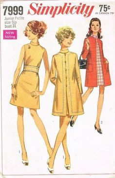 "Vintage Pattern Coat & Dress Simplicity 7999 A-line 1960's Fashion Chic 5/31"" JP"
