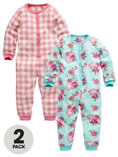 ladybird-girls-floral-check-sleepsuits-2-pack
