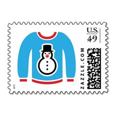 Ugly Christmas sweater postage stamps. Do you want to put the final touches on your holiday party? Ugly Christmas sweater postage stamps are perfect.