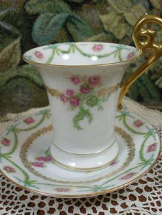 T&V LIMOGES demi TALL TEA CUP AND SAUCER  h.p. pink roses I GREEN SWAGS c1891