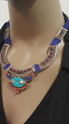 Tibetan 925 Sterling Silver, Turquoise, Lapis Lazuli and Red Coral