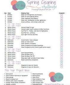 """30 Day Spring Cleaning Challenge. Each week: There are 5 days of specific tasks to complete, followed by two """"Pick Your Project"""" days."""