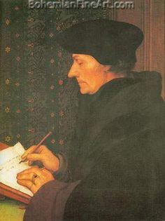 Erasmus: 1523 by Hans Holbein the Younger (Musee du Louvre - Paris) - Renaissance Tempera, Hans Holbein Le Jeune, Hans Holbein The Younger, Renaissance Kunst, Renaissance Portraits, High Renaissance, Protestant Reformation, Louvre Paris, Art History